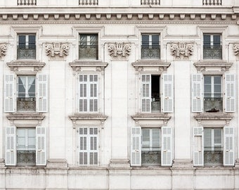 France Photography, French Decor, Provence Decor, White Shabby Chic Home Decor, Windows in French Riviera, Romantic Travel Photograph