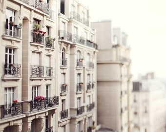 Montmartre Photograph, Paris Print, Paris Apartment Balconies and Windows, Paris Photos, White Wall Art - Les Balcons