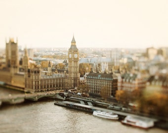 "London Skyline Photograph, Westminster, London Photography, Gold Art Print, 8x10, Thames River, Gold Wall Decor ""Little Britain"""