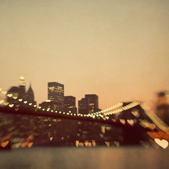 Hearts on Brooklyn Bridge, New York Photography, Valentines Gift, Romantic Art, NYC Skyline,  8x8 - I Love New York #1