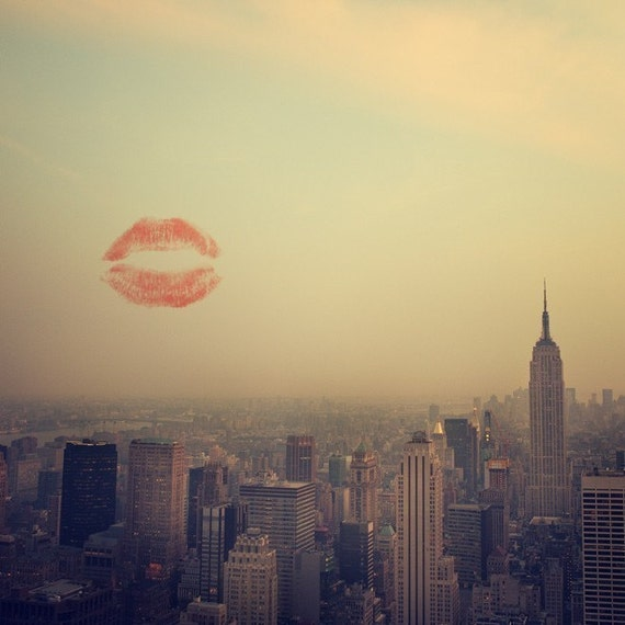 I Love New York #2 - NYC Art Print, Valentine Print, Kiss, New York Sunset, Empire State Building, Wedding Gift, Romantic Art 8x8