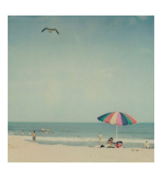 "Beach Art, Beach Decor, Summer Photography, Pastel Colors, Blue Sky, Polaroid Print, Vintage Photography, Ocean Art, ""Sunshiny Day"""