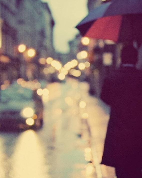 "Rainy City Streets, Abstract Art, Montreal Night, Umbrella, Abstract Photography Print, Urban Wall Art, ""I Love Walking in the Rain"""