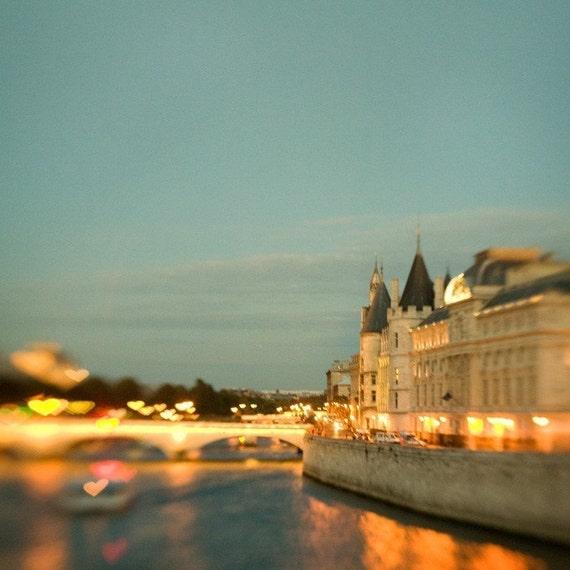 SALE - 40% OFF - Love Along the Seine - Paris Photography, Valentine, Romantic Hearts, Bridge, Blue Night, Twilight