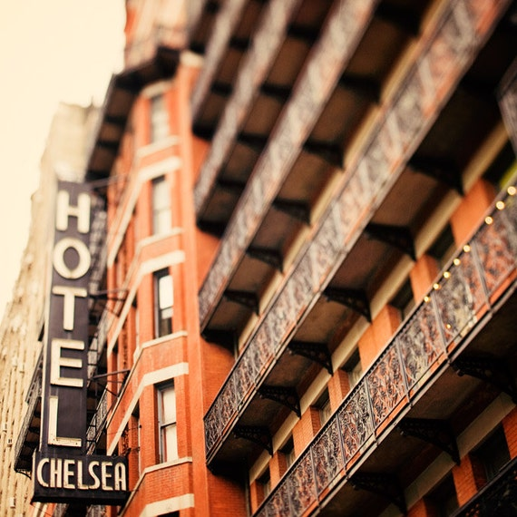 New York Photograph, Chelsea Hotel in NYC, Autumn Colors, Fall, Pumpkin Orange, Urban Travel Photograpy, 8x8 - I Remember You Well