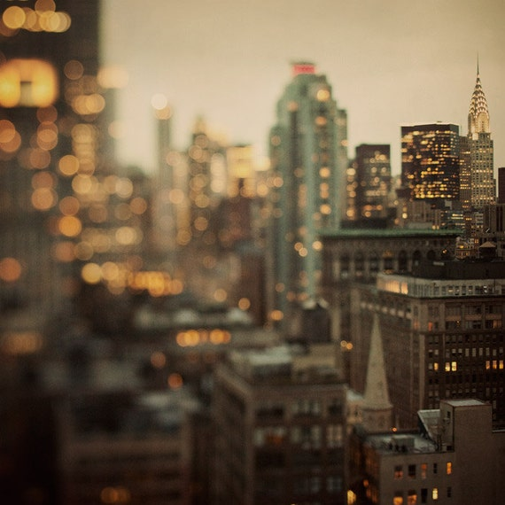 NYC Photography, Art Print, Manhattan Skyline, Wall Art, Black and Gold, Chrysler Building, Night, Lights - City of Glass