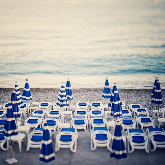 "French Riviera, Beach Photography, Blue and White Beach Umbrellas, Landscape, Summer Beach Art, Nice France, 12x12 Print ""Azure"""