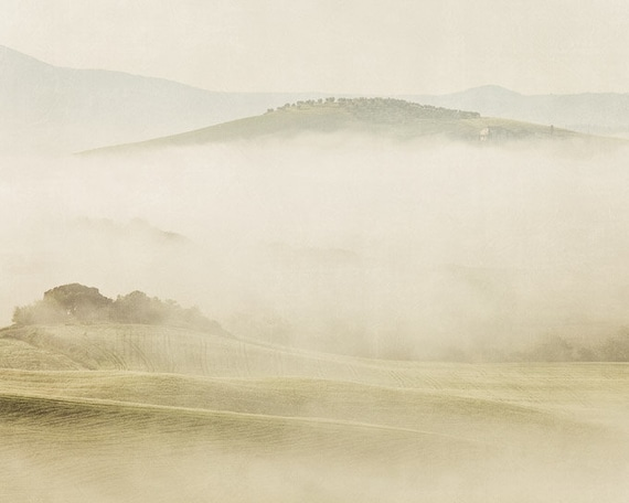 The Disappearance - Tuscany Photograph, Italy, Fog, Landscape Photography, Spring, Pastel, Pale Cream and Soft White