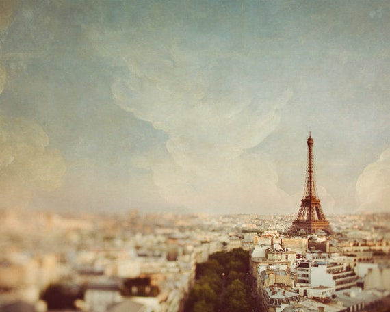 "Paris Wall Art Print, Eiffel Tower Decor, Paris Skyline, Paris Pictures, Pastel Home Decor, Fine Art Photography, ""Sky Line"""