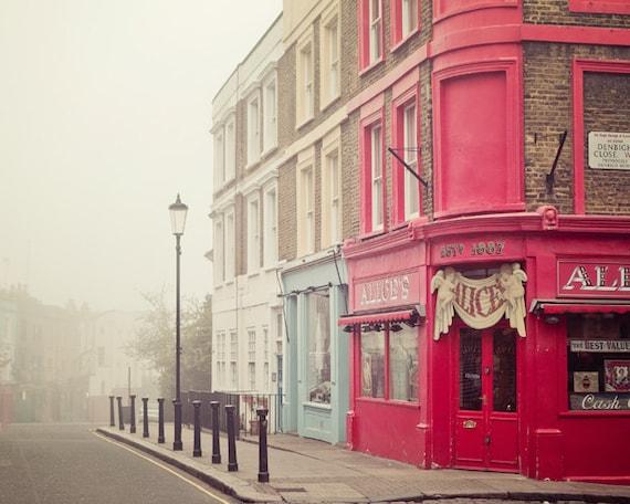 "London Photography, London Art Print, Notting Hill Antique Shop, England, London Fog, London Decor, Portobello Road, 8x10 ""Alice's"""