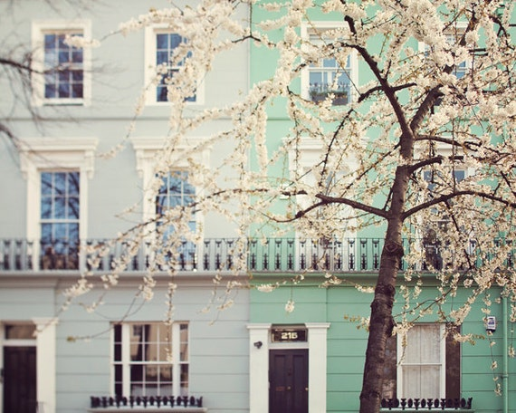 "London Photography, London Art, Large Wall Art Print, London Prints, Mint Green Notting Hill Townhouse ""I Love London in the Spring"""