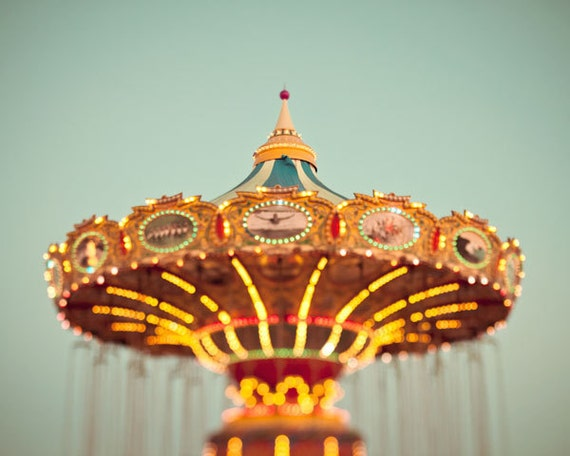 Carnival Photography - Summer Fair, Colorful, Pastel, Blue, Seafoam, Vacation Fun, Nursery Art, Whimsical - What Goes Around