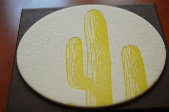 cactus letterpress coasters, set of 8