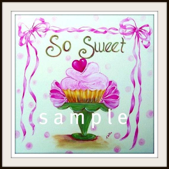 Girly Bedroom Items: Items Similar To Cupcake Nursery Art Pink Ribbon Girly
