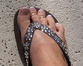 Brown Havaianas Daisy Pattern - Clear Petals and Pale Yellow Center Swarovski Crystals