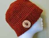 Rusty Orange Button Flap Hat