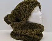 Chunky Green Hat and Cowl Set