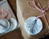 Ceramic Leaf and Feather Print Gift Tags