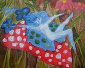 GIDDY Original Acrylic Paint Aceo Blue Fairy by LEbg
