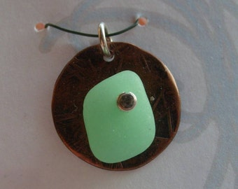 OPAQUE GREEN UV Riveted Sea Glass Pendant by Lake Erie Beach Glass LEbg