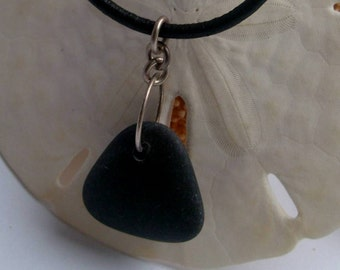 BEACH BLACK STONE Charm Necklace by Lake Erie Beach Glass LEbg