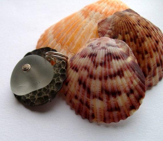 CLOUD GREY Riveted Sea Glass Pendant by Lake Erie Beach Glass LEbg