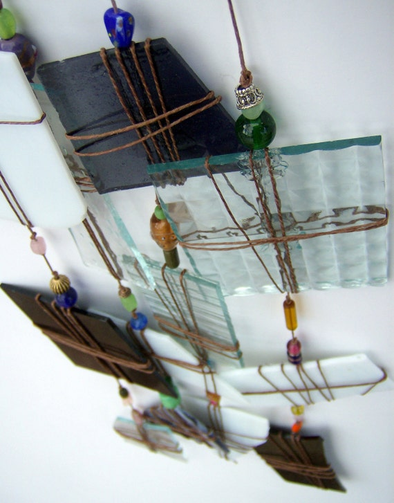 Windchime, suncatcher - white, black Recycled stained glass special windchime - SALE