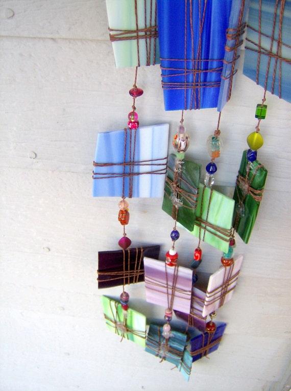Windchime, suncatcher, blue, green, purple large recycled stained glass windchime