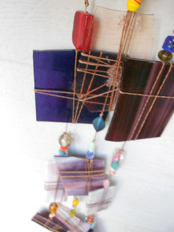 Windchime, suncatcher purple, pink Small recycled stained glass windchimette