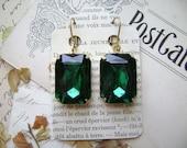 """green statement earrings, emerald earrings, green rhinestone earrings, emerald statement earrings, art deco earrings. """"Enchantment"""""""