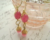Ear Candy. Vintage, French,  Earrings, Pink, Gold. assemblage Jewelry by SacredCake on Etsy
