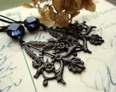 """Assemblage Earrings, sapphire, french, provincial, assemblage earrings, Downton Abbey, antique earrings. """"Romantic Getaway"""""""