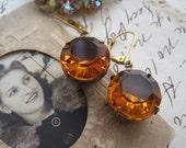 Citrine Dreams~ Kate Middleton inspired round vintage citrine earrings, citrine earrings, round citrine.