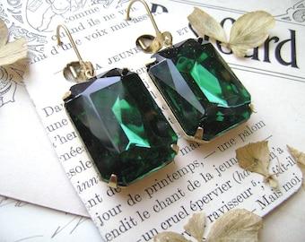 """green statement earrings, emerald earrings, green rhinestone earrings, emerald statement earrings. """"Enchantment"""""""