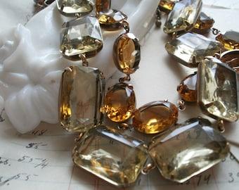 Citrine statement necklace, Anna Wintour, collet, citrine statement jewelry, Jane Austen necklace, Downton Abbey jewelry, Topaz.