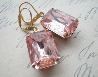 Blush Pink earrings, pale pink earrings, Jane Austen earrings, Downton Abbey earrings, pink rhinestone earrings.