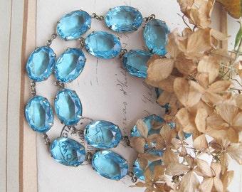 Aqua statement necklace, georgian collet, aquamarine necklace,  Anna Wintour necklace.