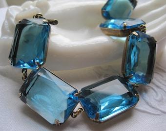 "Art deco bracelet, aqua statement bracelet, Anna Wintour, crystal bracelet, aqua blue bracelet, blue rhinestone bracelet. ""Aqua Dreams"""