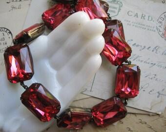 """Pink Statement Necklace, Anna Wintour necklace, collet, art deco necklace, Georgian collet, rhinestone statement necklace. """"Lux Pink"""""""