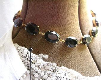 Black statement necklace, anna wintour necklace, Onyx necklace, black opal necklace, georgian necklace, j. crew necklace,  Edwardian.