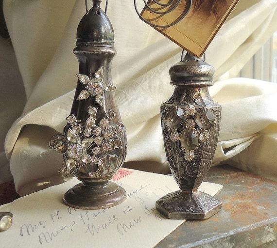 Custom PAIR of shabby, French, shaker, photo,  holders, wedding decor. assemblage art by SacredCake