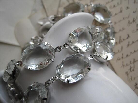 rhinestone Statement Necklace, rhinestone bridal necklace, collet necklace, Anna Wintour necklace, diamond necklace, clear rhinestones.