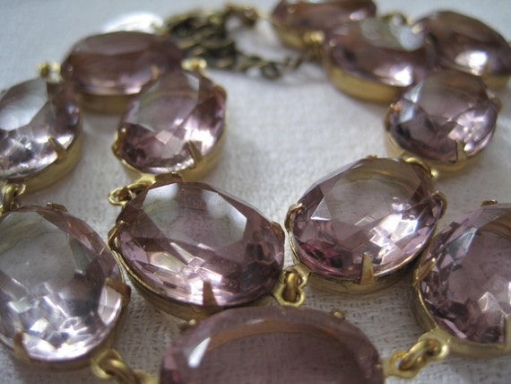"Statement Necklace. Antique ""Pansies"". orchid Bottega Regency Inspired Necklace, pale purple, vintage jewel collet necklace."
