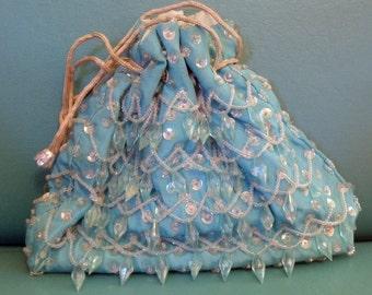 Vintage Evening Bag Turquoise Blue Crystal Covered Bag