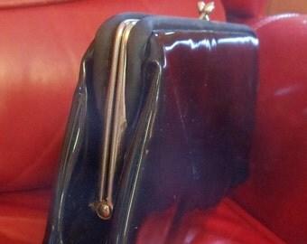 Vintage Purse HL Black Patent Leather Handbag Formal Chain Handle