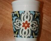 Coffee Sleeve Cozy   Blue Amy Butler
