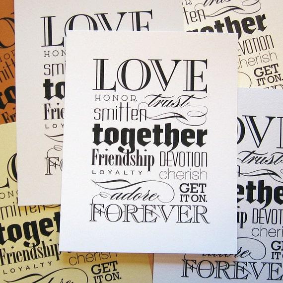 love together forever WHITE print