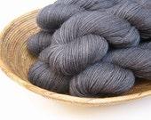 GRAPHITE - Real Silver, Silk, Superwash Merino Sock Yarn