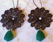 Glowing Green Chunky Brass Filigree Earrings