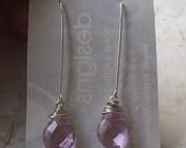 Pink Glass Quartz Dangle Earrings